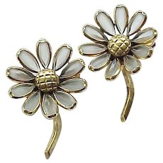 Pair Trifari Poured Glass Flower Pins