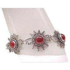 03 - Beautiful Sterling Silver and Carnelian Bracelet