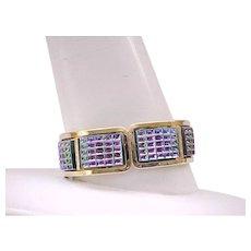 Gorgeous Molded Glass Iridescent Bracelet, Earrings - Judy Lee