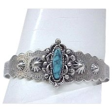 03 - Native American Sterling, Turquoise Bracelet