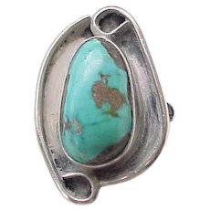 Unusual Native American Sterling, Turquoise Ring - Size 8 1/4