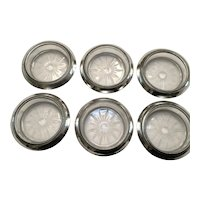 6 Sterling Silver and Glass Coasters - Whiting & Co.