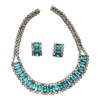 05 - Spectacular Aqua and Diamanté Rhinestone Necklace, Earrings