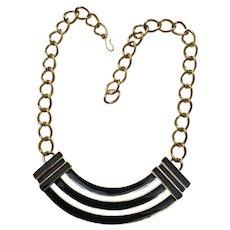Chic Monet Black Enamel Collar Style Necklace
