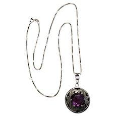 Rancho Alegre Taxco Sterling Pendant, Chain - Purple Stone