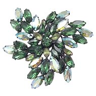 Regency Fabulous Deep Green, Aurora Borealis Brooch