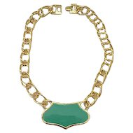 Monet Green Enameled Necklace with Chunky Chain