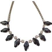Elegant Rhinestone Necklace Black Hexagons, Diamante Chatons
