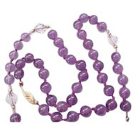 09 - Gorgeous Amethyst Necklace 14K Gold Clasp