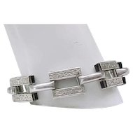 Beautiful and Unusual Sterling Silver Bracelet - Embossed Design