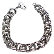 Sterling Silver Starter Charm Bracelet, Unusual Clasp