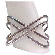 Criss Cross Wide Sterling Silver Bracelet