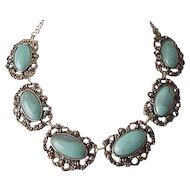 Amazing Faux Turquoise Necklace and Earrings - Big Pieces Great Design