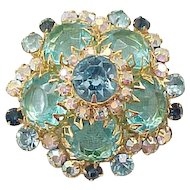 Lovely Juliana Domed Shape Pin Aqua Rhinestones - Book Piece