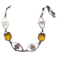 04 - Pretty Art deco Czech Necklace - Amber Rhinestones