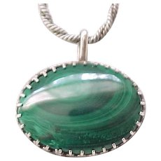 Superb Malachite Pendant Necklace with Sterling Chain