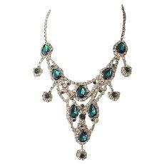 Glamorous Rhinestone Bib Necklace, Earrings - Peacock Blue, Diamante Rhinestones - Book Piece