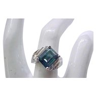 Beautiful Sterling Silver Ring - Blue Stone - size 5