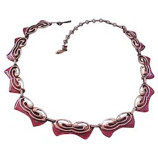 Gorgeous Matisse Necklace, Earrings - Red Enamel over Copper - Evening