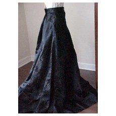 Fabulous Long Black Skirt made in Hong Kong - Chrysanthemum Design