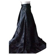 Fabulous Long Black Skirt made in Hong Kong - Chrysanthemum Design
