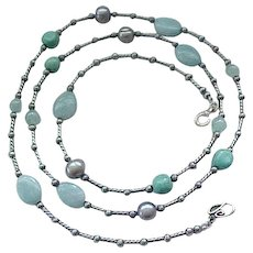 Lovely Long Sterling Necklace with Turquoise, Quartz Beads