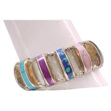 Unusual Sterling Bracelet Fantastic Variety Natural Stones