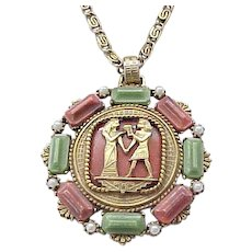 Fab Egyptian Revival Pendant Necklace, Earrings Isis and Osiris