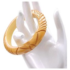 Awesome Bakelite Bangle Deeply Carved Butterscotch