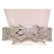 Art Deco Filigree Buckle Bracelet with RS Clasp Signed