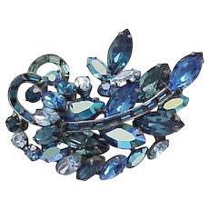 Gorgeous Weiss Blue Rhinestone Brooch - Asymmetrical Shape