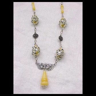 06 - Czech Necklace with Yellow Beads - Very Unusual - Must See