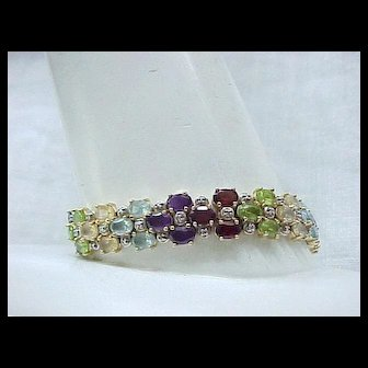 Sterling Gemstone Bracelet with Gold Vermeil - 8 1/4 inches