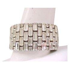 Elegant Rhinestone Cuff Bracelet - Diamante Baguettes