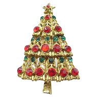 Pretty Red and Green Rhinestone Christmas Tree Pin