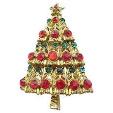 Pretty Red and Green Rhinestone Christmas Tree Pin