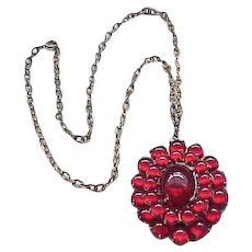 Ruby Red Pendant Necklace with Glass Cabochons