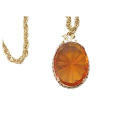 05 - Impressive Amber Glass Pendant Necklace - Whiting and Davis