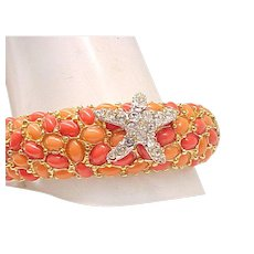 """Fanciful KJL Starfish Bracelet with """"Coral"""" Pebbles"""
