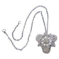 Glitzy Juliana Diamante Rhinestone Pin/Pendant with Chain