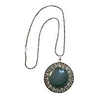 Huge Green Onyx and Sterling Pendant Necklace - Outstanding
