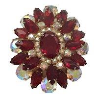 Superb Juliana Brooch - Garnet Red Rhinestones