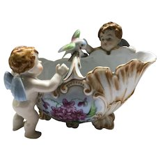 China Basket 2 Angels (Putti) Hand Painted