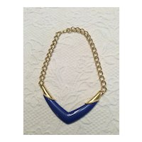 05 - Blue Monet Lucite Necklace Goldtone Chain