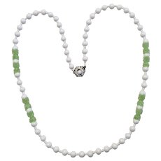 Miriam Haskell Necklace White with Green Accents