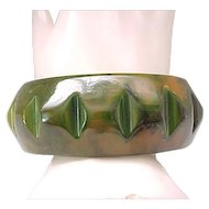 Deeply Carved Green Bakelite Bracelet