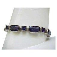 Signed Czech Bracelet - Silvertone, Purple Stones