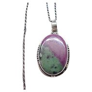 Pendant Natural Stone Sterling Silver Chain - Unsusual Stone