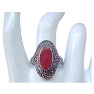 Sterling Ring Carnelian and Marcasite - Size 10