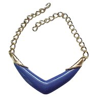 Periwinkle Blue Monet Necklace with Goldtone Trim - Love it